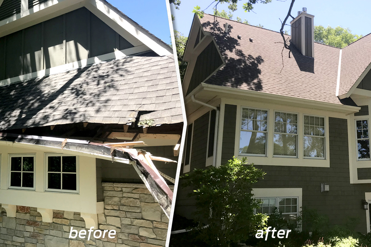 Residential Storm Damage Before & After Image