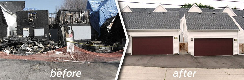 A before and after picture of a commercial property remodel.