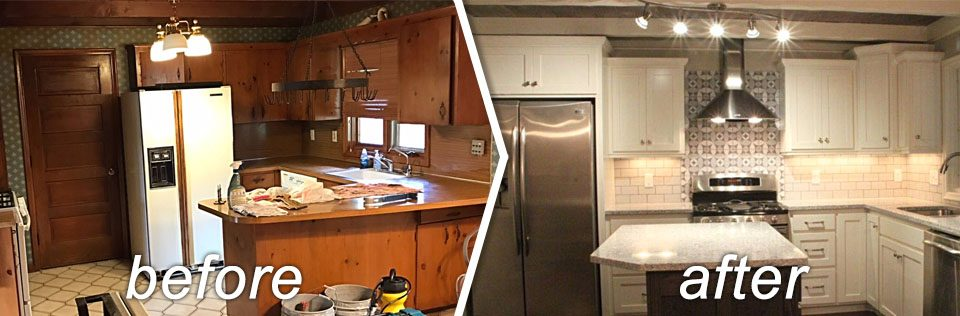 A before and after picture of a kitchen remodel.